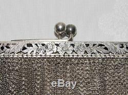 08d44 Ancient Hand Bag With Evening Cott Mesh Silver Massive Chaplail Bal Xixth