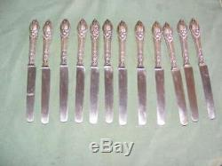 12 Antique Knives Sterling Silver Sleeves Filled, Punch Minerva 1st Title