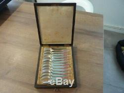 12 Former Spoons Brace Silver Wooden Box Nap III