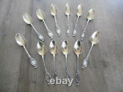 12 Old Small Spoons In Solid Silver Minerva 199 Gr