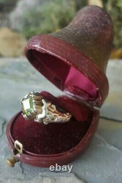 18th Solid Silver Old Ring And Pierre Grenat Demantoide