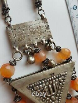 Amulet Zar Egypt Silver Cornaline Ancient Tribal Berbere Bedouin Ethni