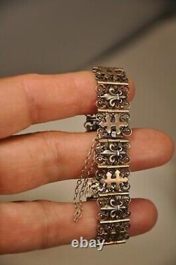 Ancien Bracelet Napoleon III Argent Massif Or Antic Solid Silver Bracelet 19th
