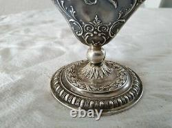 Ancien Vase Tulipier Or Rose Argent Massif Hanau Angelots Putti Sterling 19th