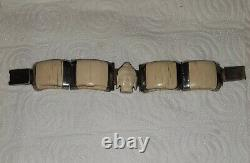 Ancient Bracelet Art Deco Solid Silver And Buddha Carved
