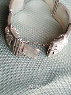Ancient Jewel Solid Silver Bracelet, Rose Decoration