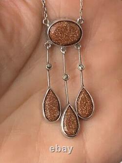 Ancient Necklace Art Deco Stone Sun Antique Silver Necklace