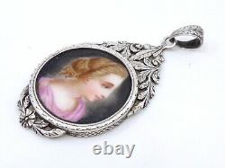 Ancient Pendant In Solid Silver Miniature Painting On 19th Empire Porcelain