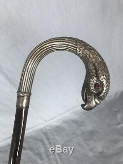 Ancient Rapace Rod In Silver 19th Antique Silver Walking Stick Eagle