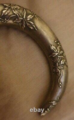 Ancient Rare Apple Umbrella Cane Handle Art Nouveau Art Decor In Solid Silver