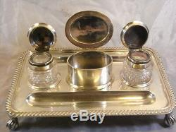Ancient Record Silver Silver Office English Written Crystal Inkwell Silver 19é