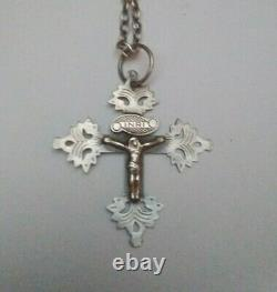 Ancient Savoy Cross Chambery In Solid Silver Maurienne Grid 19th