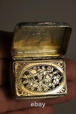 Ancient Silver Vinaigrette Ancient Massive Solid Silver Georgian Scent Box 1810