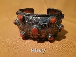 Ancient Tibetan Silver And Coral Bracelet
