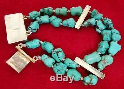 Ancient Turquoise Vermeil Bracelet In Sterling Silver