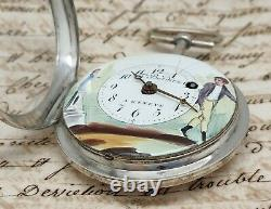 Ancient Watch Au Coq Silver Dial Painted Bordier In Geneva Children's Pocket Watch