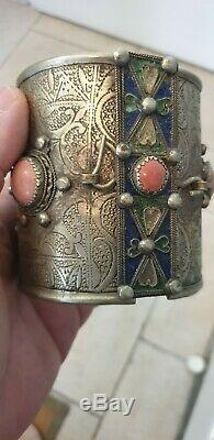 Ankle Bracelet Kabyle Berber Old Silver And Red Coral 200 Grs