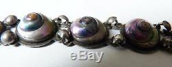 Antique Bracelet In Sterling Silver + Iridescent Snail Pearl Jewel Bracelet Silver