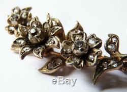 Antique Brooch In Solid Silver + Rhinestone 19th Century Flowers Silver Brooch
