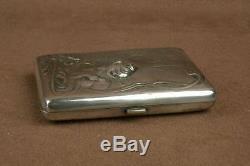 Antique Cigarette Case In Sterling Silver A Decor Art Nouveau Woman