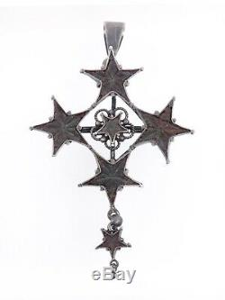Antique Cross In Solid Silver And Star Of Digne St Vincent Provence Xixeme