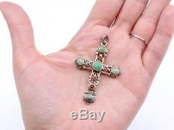 Antique Cross In Sterling Silver Cabochons Of Turquoise And Carnelian