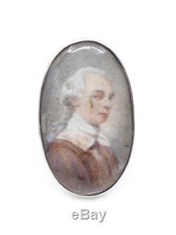 Antique Eighteenth Ring In Sterling Silver Miniature Painting Portrait Noblesse