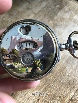 Antique Gousset Watch In Solid Silver 800 A Window Decoration Wolf Painting