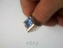 Antique Silver Art Deco Ring Silver Gold 1940 Aquamarine Vermeil