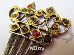 Antique Silver Brooch Gold Plated Gold Mughal Empire India 18th