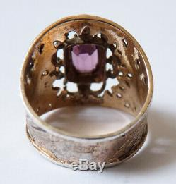 Antique Silver Vermeil Ring And Purple Stone Silver Ring