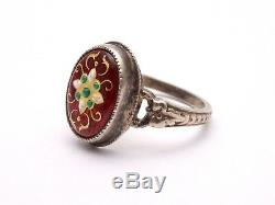 Antique Solid Silver Ring And Enamel Bressans Regional Jewel Nineteenth T57