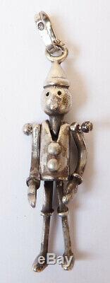 Antique Sterling Silver Pendant Pinocchio Figurine Silver Statuette Pendant