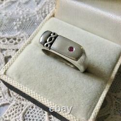 Art Deco Ancient Ring Tank Natural Ruby, Silver Massif