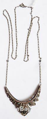 Art Deco Necklace Pendant Silver Necklace Old Silver Rhinestones +