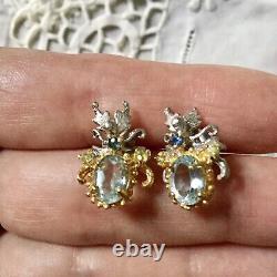 Art Deco Old Earrings Peridot, Sapphire Topaz Vermeil Silver