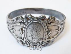 Art Nouveau Solid Silver Rigid Bracelet Circa 1900 Silver Antique Jewel