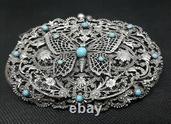 Aumoniere Old Silver Filigrané Massive Art Nouveau Turquoise Butterfly