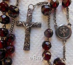Beau Old Rosary, In Solid Silver And Big Pearls Faceted In Grenat