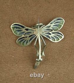 Beautiful Ancienne Broche Art Nouveau En Argent Et Email Plique A Journal Libellule