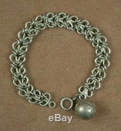 Beautiful Ancient Bracelet In Sterling Silver & Vermeil Beautiful Mesh With Charms