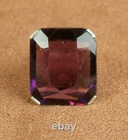 Beautiful Ancient Ring In Massive Silver Sertie Of A Huge Amethyst