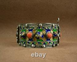 Beautiful Bracelet Cuff Ancient Berbere Kabyle In Silver Email And Coral