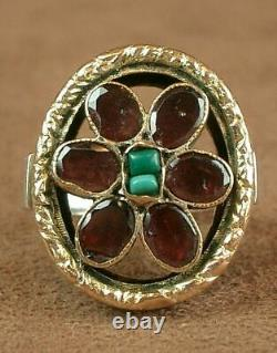 Beautiful Important Ring Ancient Tank In Silver Vermeil, Grenat - Turquoise