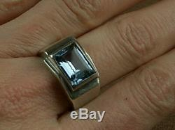 Beautiful Large Ring Tank Old Art Deco Silver Set With One Bluestone