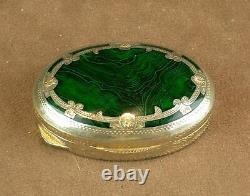 Beautiful Old Box In Massive Silver Email Imitating Malachite