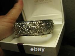 Beautiful Old Bracelet Opening Patterns Roses Daisies In Massive Silver