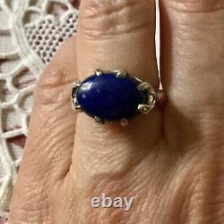 Beautiful Old Lapis Lazuli Ring Silver Massif, Splendid