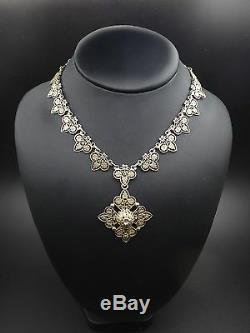 Beautiful Old Necklace Sterling Silver Vermeil Maltese Cross Nineteenth Empire Style