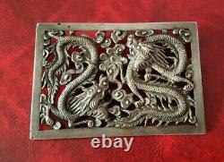 Beautiful Old Solid Silver Brooch With Chinese Dragons Motif